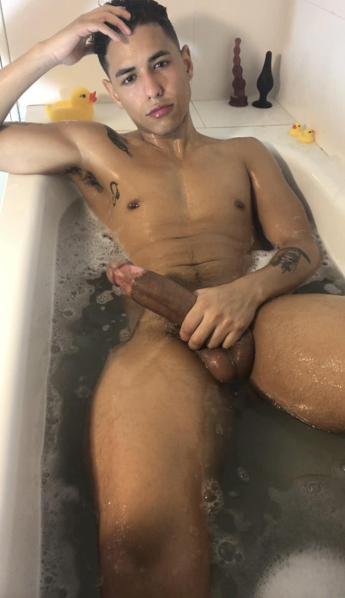 Bathtub boy with a big dick