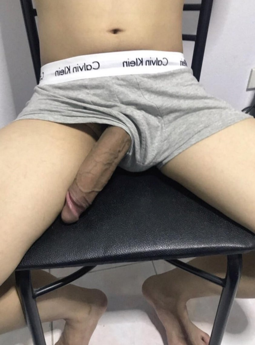 Big cock out of underwear