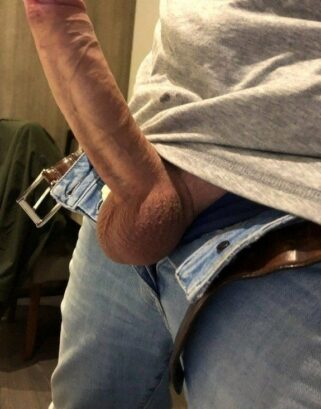Big hard cock out of jeans