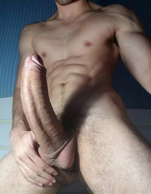 Extremely thick hard uncut cock