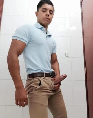 Hard cock out of jeans