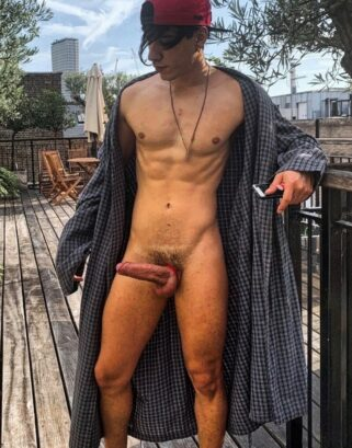 Jock with a hard uncut cock