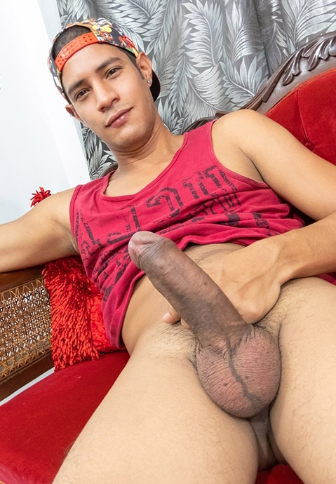 Latino boy with boner
