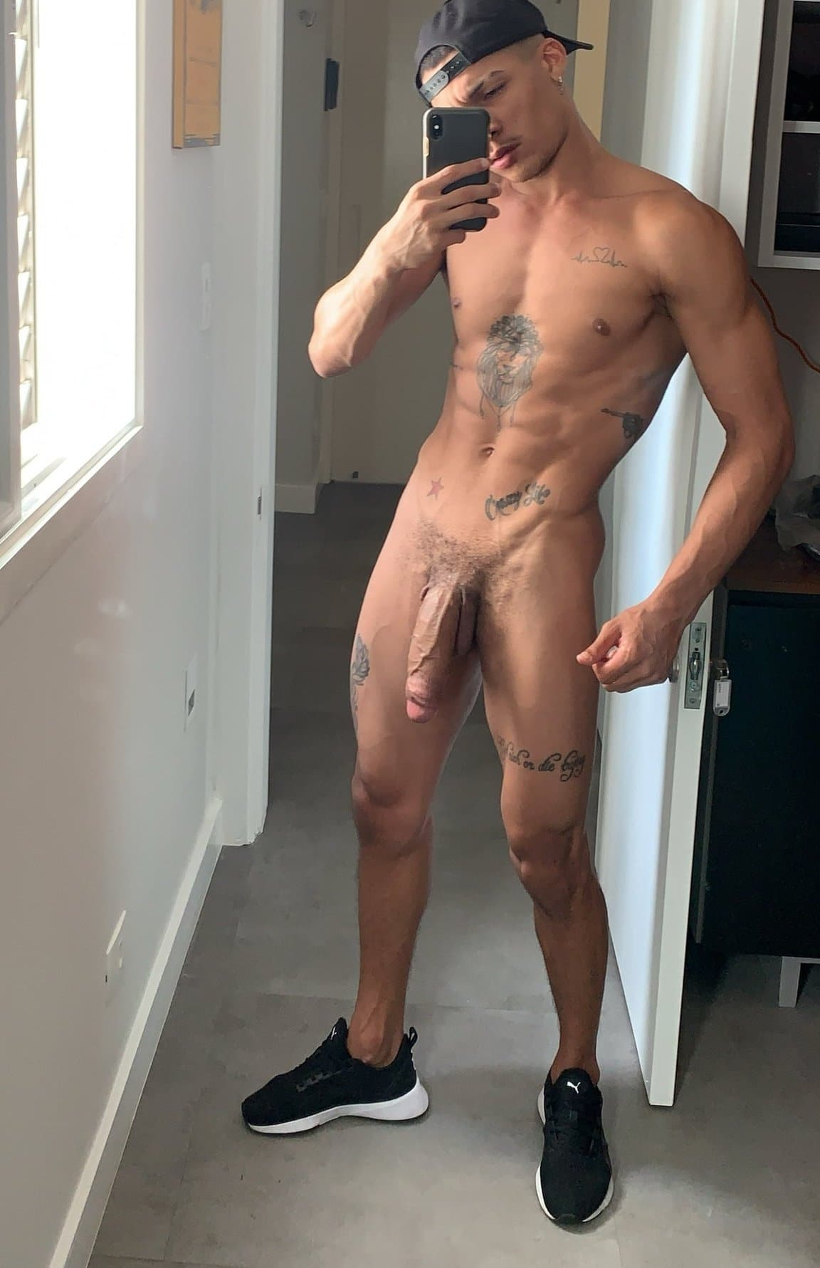 Nude stud with a monstercock