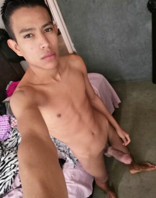 Skinny twink with erection